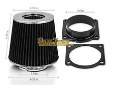 Mass Air Flow Sensor Intake Adapter + BLACK Filter For 00-02 Lincoln LS 3.9L V8