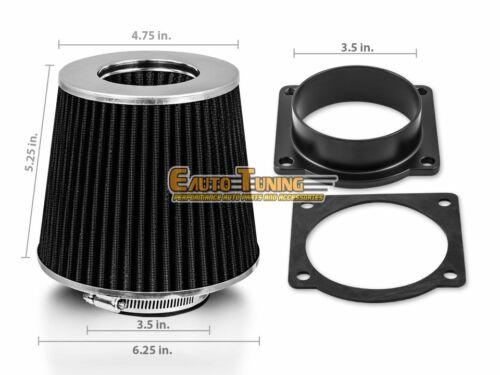 Mass Air Flow Sensor Intake Adapter 5.8 V8 BLACK Filter For 1996 F350 4.9 L6
