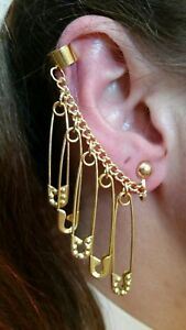 Harley Quinn Gold Octogon Embellished Safety Pins /& Large Spike Earrings!