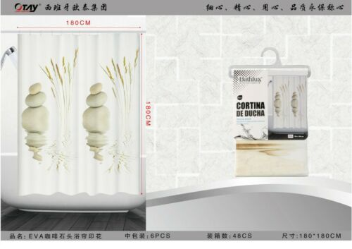 Design élégant Peva Salle de Bains Rideau De Douche Avec Crochets 180x180 Cm Vendeur Britannique