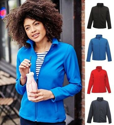 Sale - Regatta Print Perfect Ladies Soft Shell Jacket - Navy - Size 12 100% Original