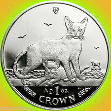 2010 Isle of Man - Abyssinian Cat - 1oz .999 Bullion Silver Proof Coin + Box/Coa