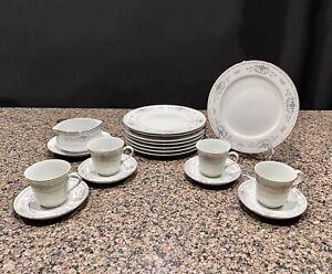 Wade-Fine-Porcelain-China-Japan-DIANE-17-Pc-Dinnerware-circa-1970