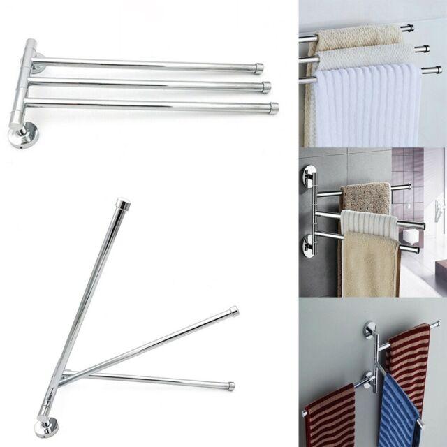NEW Swivel 2 Swing Arm Towel Holder Bar Rails Rack Wall Mounted Stainless Steel