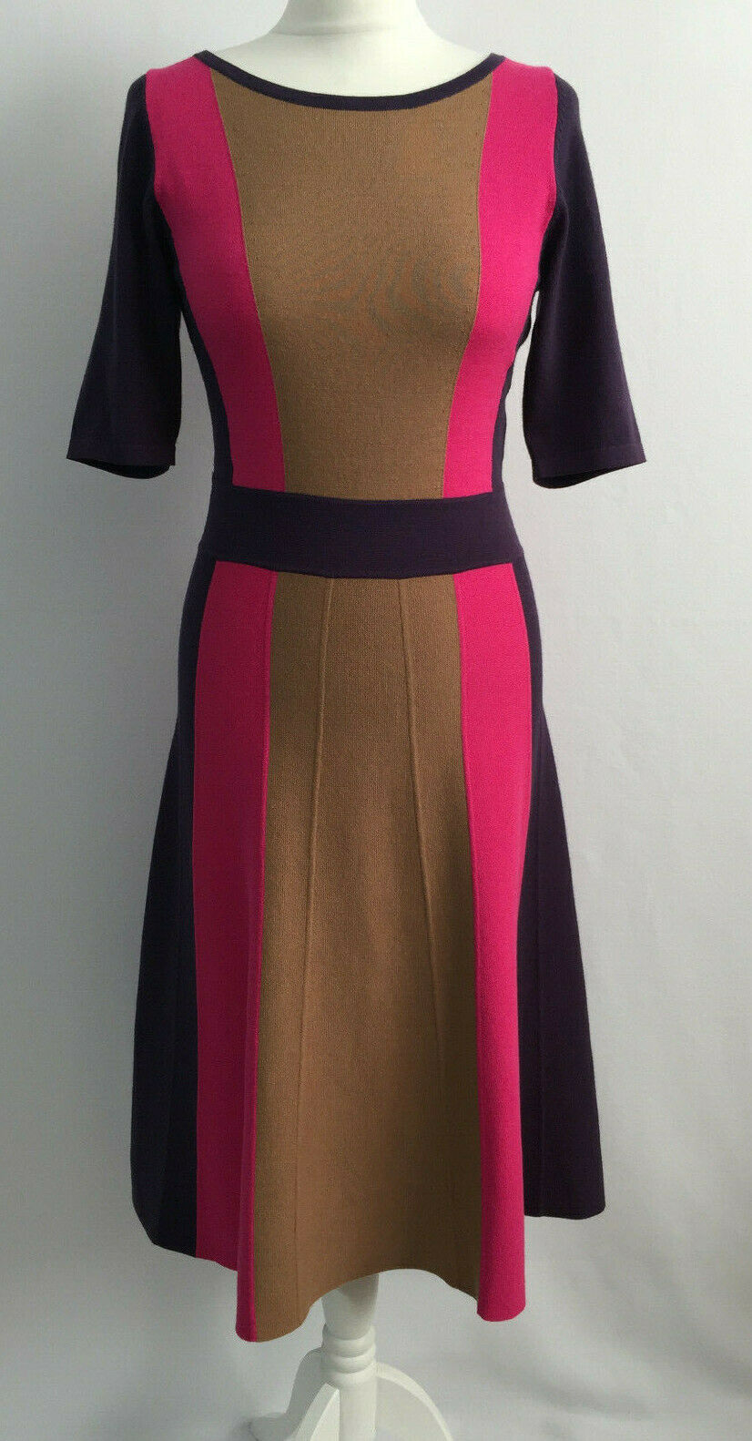 Fab Boden Purple Camel Pink Knit Cotton Viscose Fit Flare Dress 10 Long Tall VGC