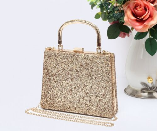 WOMENS GLITTERY SPARKLY HARDCASE PURSE CLUTCH BAG SHIMMER EVENING BAG