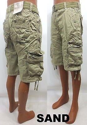 Men's FOCUS white orange khaki red cargo shorts size 32 34 36 38 40 42 x 13 belt
