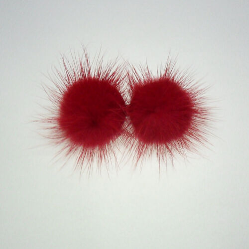 Red Fluffy real mink fur pompom hair barrette clip cute pin accessory