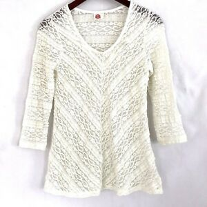a340309f8c1bc6 Image is loading Anthropologie-Lilka-Colette-Sheer-Lace-Blouse-Size-Small-