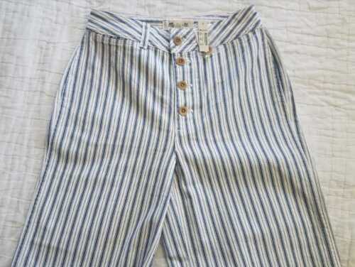 Madewell larga a gamba Stripe donna Front Button In pantaloni Nuovi da Emmett Edition wFxqf1F