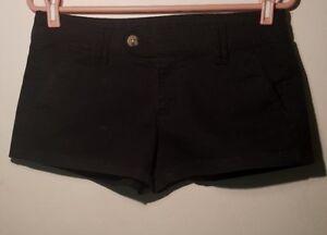 Arizona-Jeans-Short-Women-Black-Flat-Front-Mini-Size-9