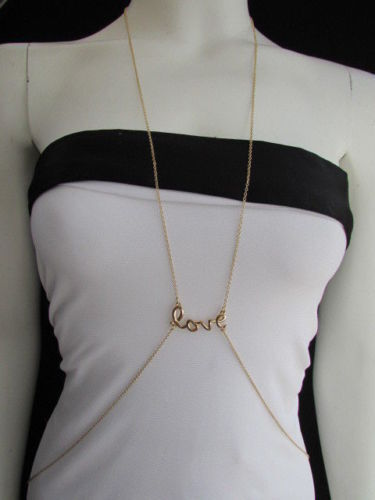 New Women Gold Body Chain Jewelry LOVE Pendant Charm Beach Pool Party Summer Fun