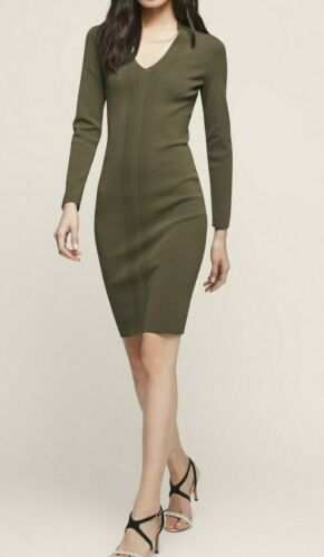 Khaki Viscose 45 Uk6 Polly Reiss Nylon 1 Knitted Dress Bodycon Elasta 54 qfq40Iw8x