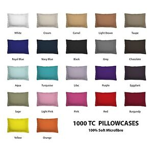 pair 2 of standard king european size pillowcases 1000tc microfibre colour ebay. Black Bedroom Furniture Sets. Home Design Ideas