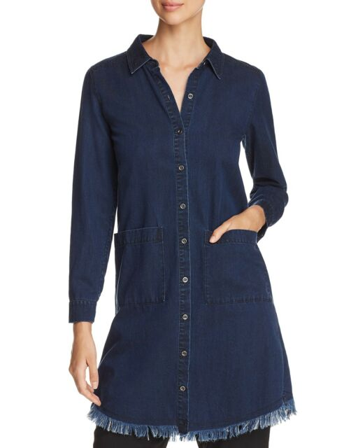 3182d31ab9 Eileen Fisher Plus Classic Color Frayed Denim Shirt Dress Size XLRG NWT LAST