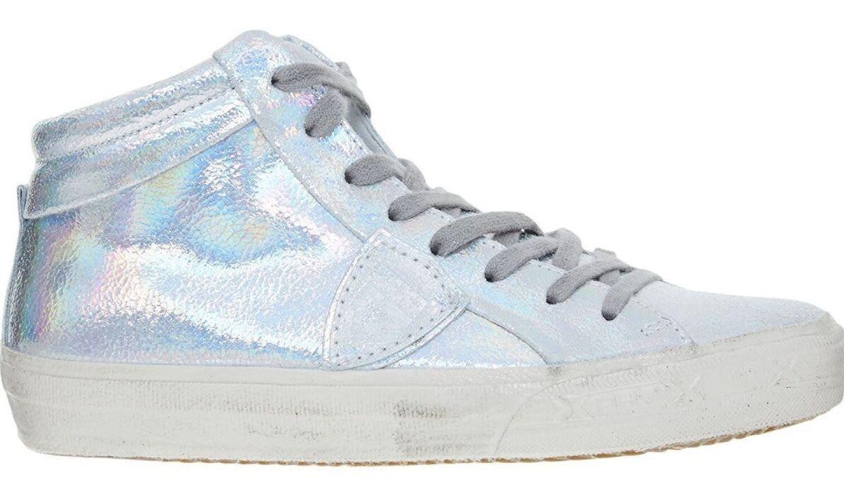 PHILIPPE MODEL 'Alta women' Women's Metallic Silver Leather Sneakers Sneakers Sneakers - s UK 5 6 1f074d