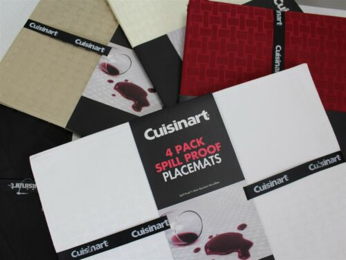 NWT Cuisinar 4-Pack Placemat Spill Proof 13x19 Formal Rectangle Multiple Colors