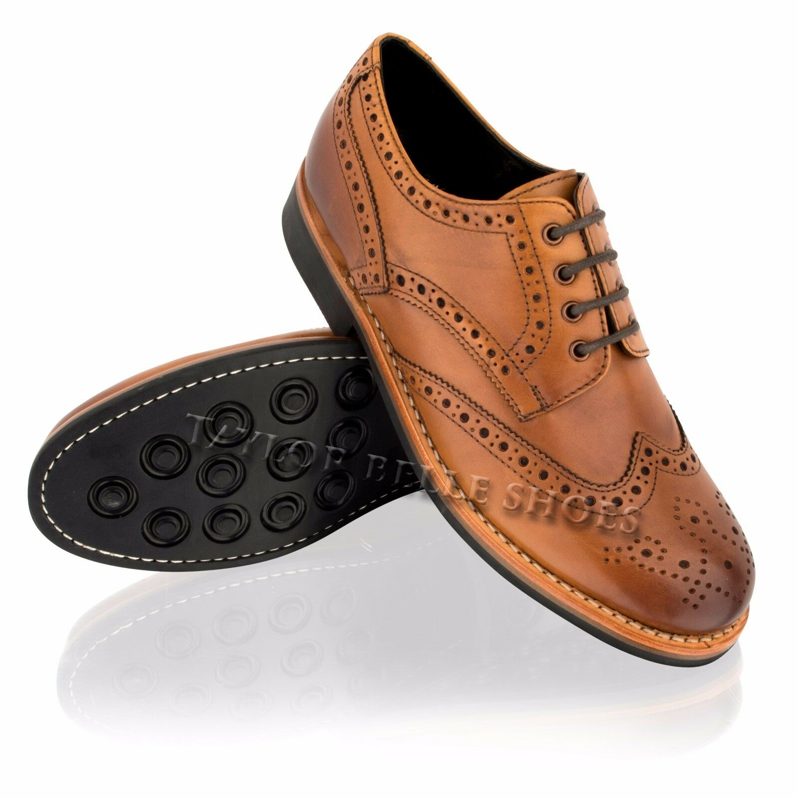Mens Leather Brogue Lace up Goodyear Welted Sole Formal Dress Wedding Shoes Size