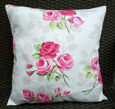 "Shabby Chic Clarke /& Clarke Strawberry Cotton Fabric Cushion Cover 16/""x16/"""