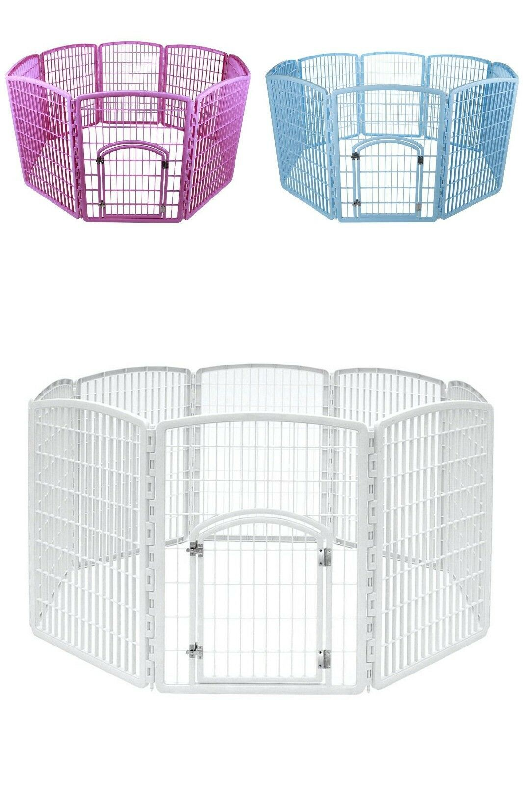 NEW Puppy Dog Pet Play Pen Kennel Cage Gate Fence Plastic 63 x63 x34  NO TAX
