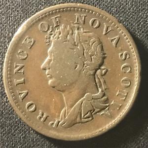 Canada-1823-Half-Penny-Token-Un-Sou-NS-1A3-Breton-867-J-008
