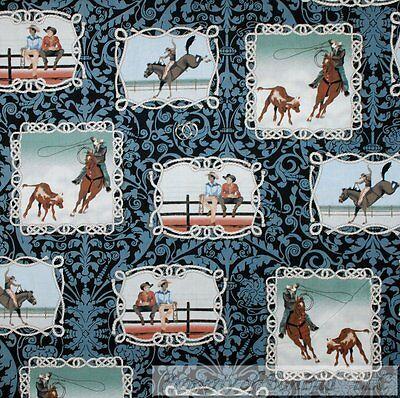 BonEful Fabric FQ Cotton Quilt Black Blue Brown Horse Cowboy Western Lasso Rope