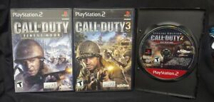 Call of Duty 3, 2 Big Red, Finest Hour PS2 PlayStation 2 3 Game Lot Working !