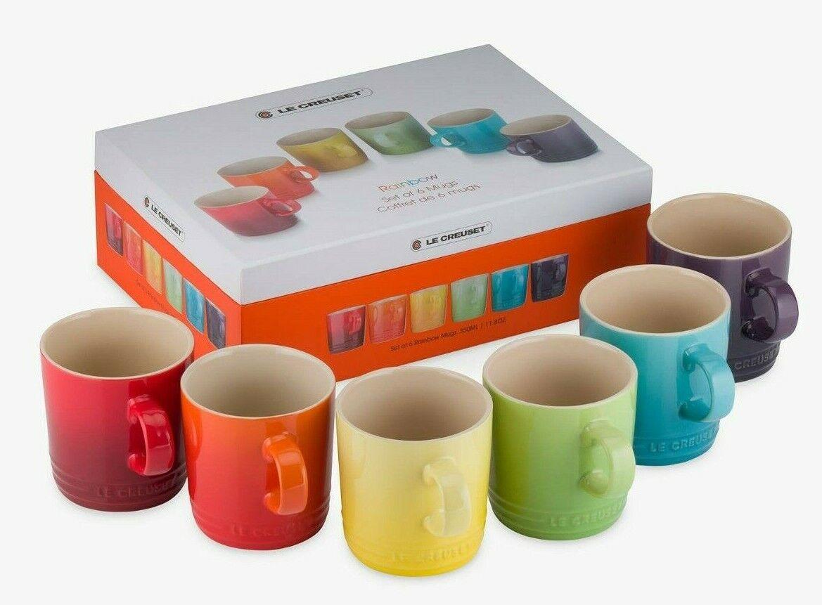 NEW in BOX Le Creuset 6 PC SET Rainbow Mugs Ombre Mug rot Gelb lila Grün