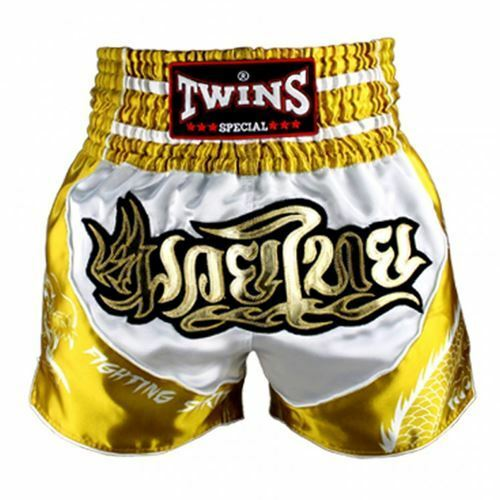 Twins Special Muay Thai Shorts Dragon - White gold TBS-DRAGON 4
