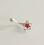 925 Sterling Silver /& Surgical Steel Flower Belly Bar with a Carnelian Cabochon