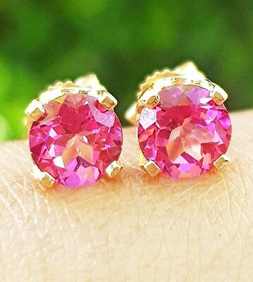 2ct Natural VS Pink Sapphire 14K Solid Yellow Gold Stud Earrings Diamond Alterna