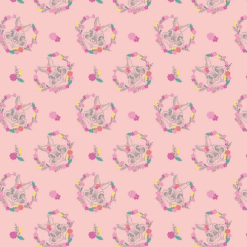 Disney 100/% Cotton Fabric Thumper Floral Heart Pink Bambi FAT QUARTER