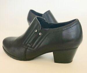 Studio-Works-Becker-black-ankle-shoes-bootie-western-heel-women-039-s-9