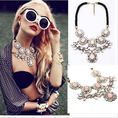 Fashion Women Luxury Crystal Crew Pink Flower Pendant Bib Statement Necklace New