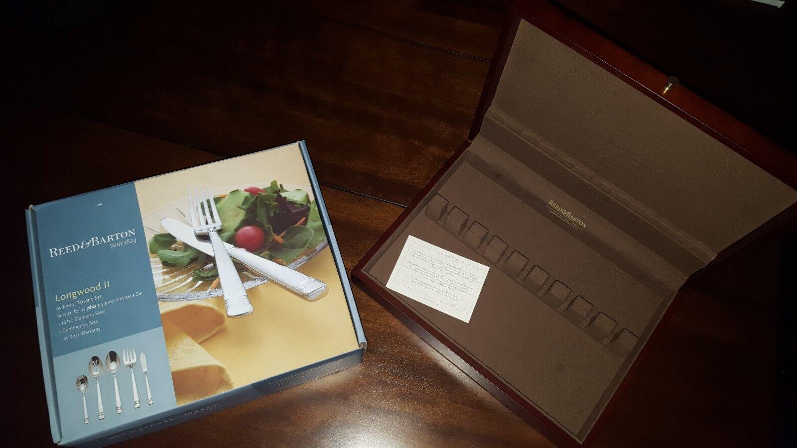 Reed & Barton Barton Barton Longwood II 65-Piece Stainless Flatware Set (With Storage Box) 74afd7