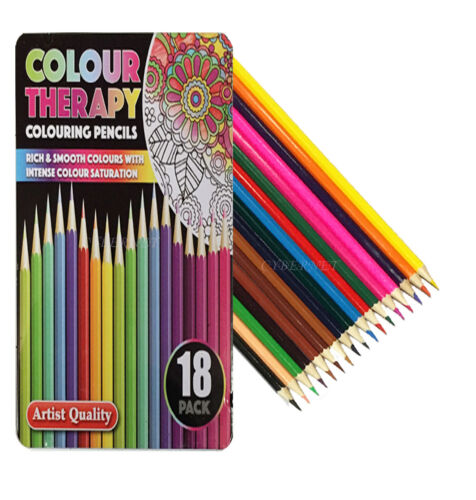 18 x PREMIUM Artist Quality Adult //Child Colouring Pencils with Tin