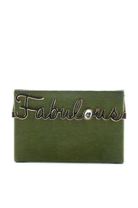 Charlotte Olympia Olive Green Leather Gold Tone Fabulous Vanina Clutch Handbag