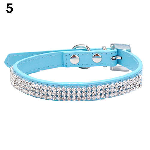 JN/_ 3 Row Bling Rhinestone Small Pet Dog Faux Leather Buckle Cute Cat Puppy Co