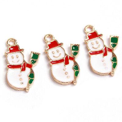50pcs Charms Green&Red&White Enamel Gold Plated XMAS Snowman Alloy Pendants J