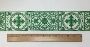 Orphrey-Cruz-Verde-Encendido-Apagado-Blanco-Vestment-Banda-8-3cm-Ancho-Se-Vende