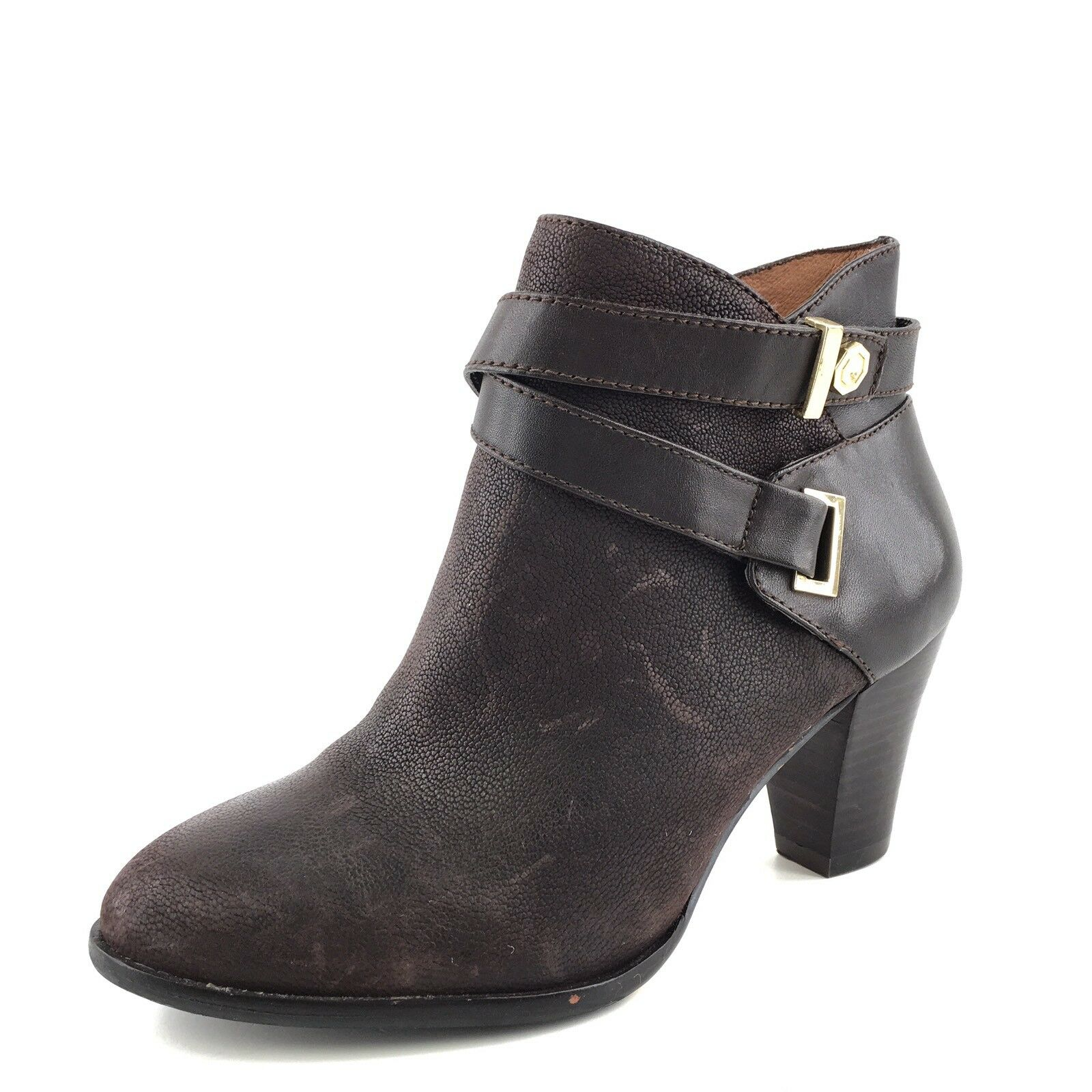 Louise et Cie Ranier Dark Brown Leather Fashion Ankle Boots Womens Size 6.5 M*
