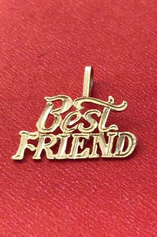 14k Yellow gold  Best Friend  Pendant Charm