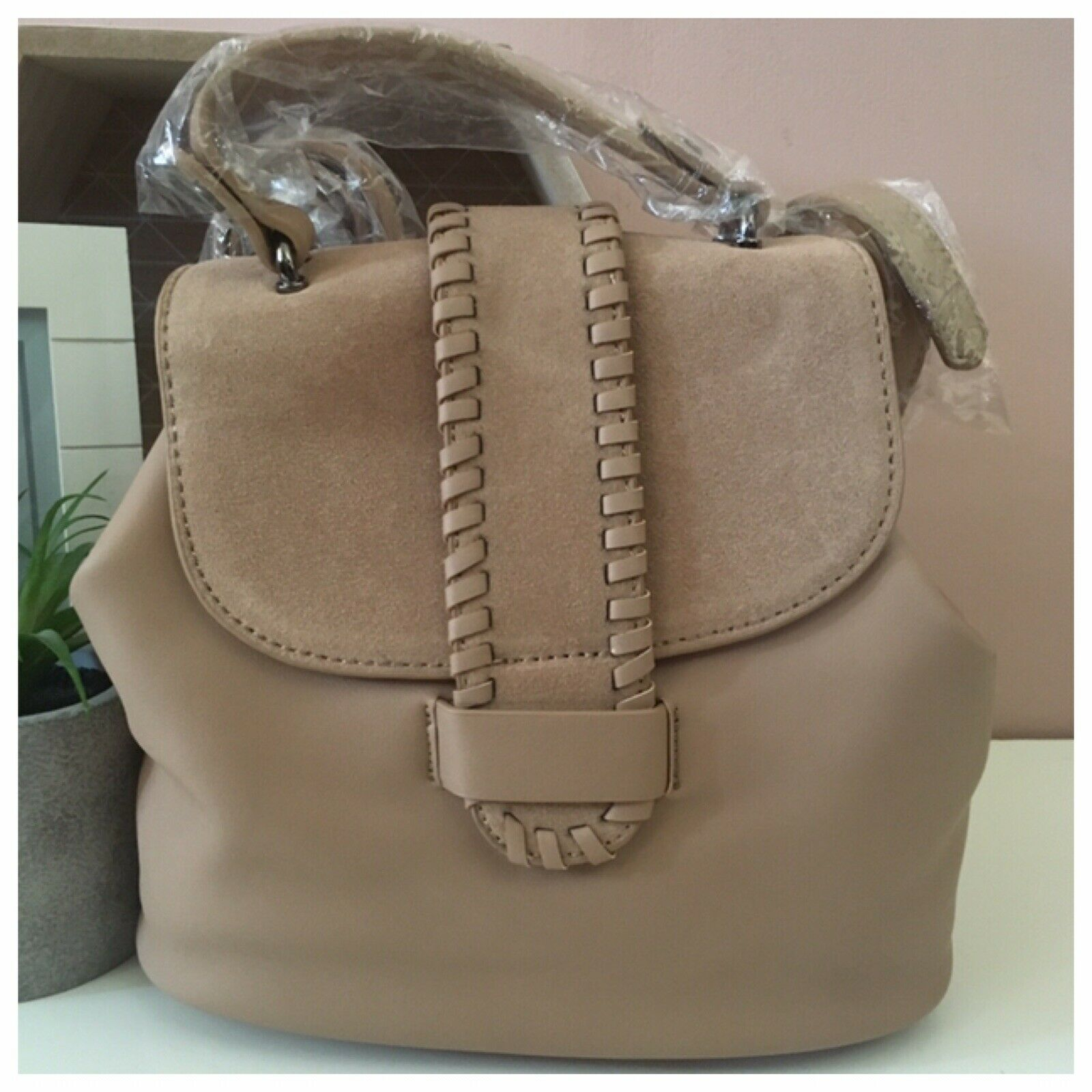 Street Level Small Nude/Tan Whipstitch Trim Back Pack NWT