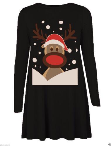 Womens Christmas Midi Swing Jumper Dress Ladies Long Sleeve Xmas Skater Dresses