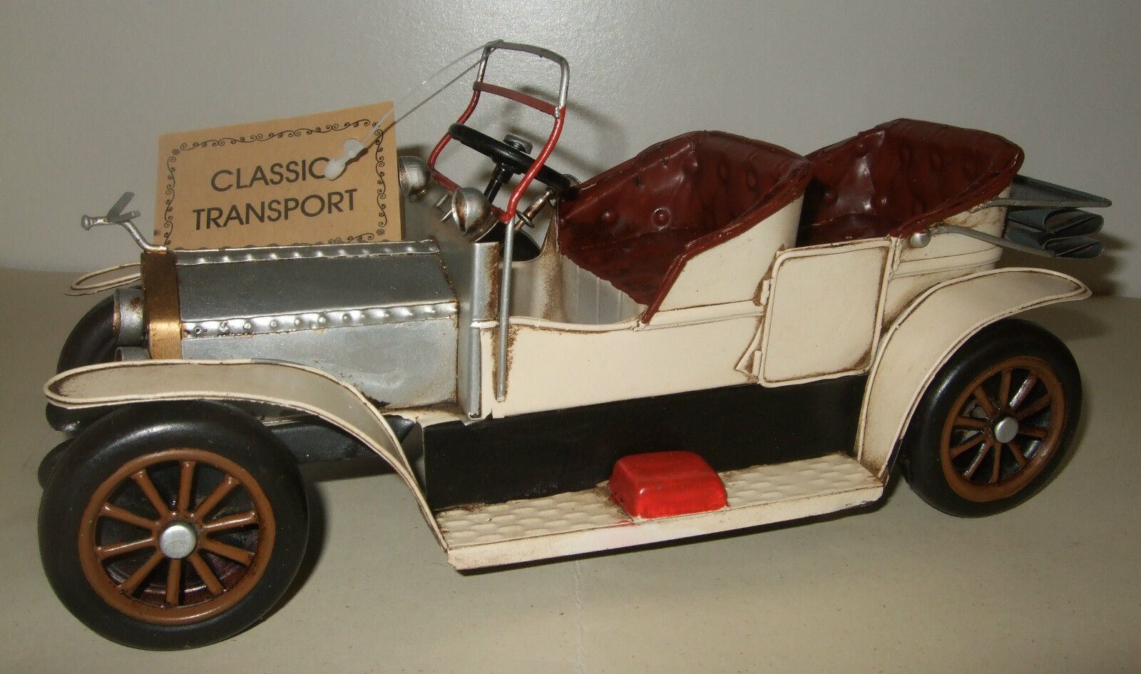 Tin Plate Model of a Classic Transport Cream Motorcar Ornament Gift