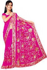 Deep Pink Wedding Bollywood Sequin Embroidery Sari Saree Costume danse du ventre