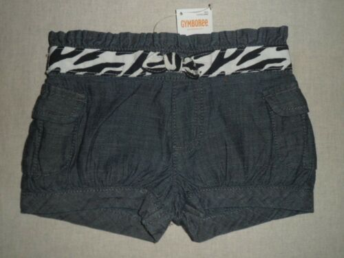 Gymboree WILD FOR ZEBRA Chambray Black White Belted Cargo Shorts NWT 3T