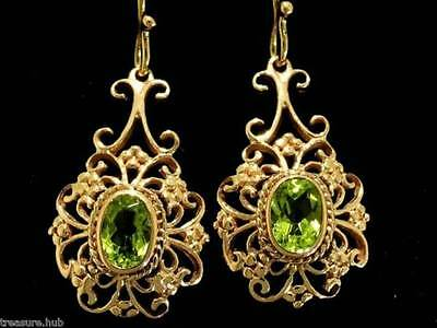 E016 - LOVELY 9ct Solid Rose Gold Natural PERIDOT Drop Earrings Filigree Dangle