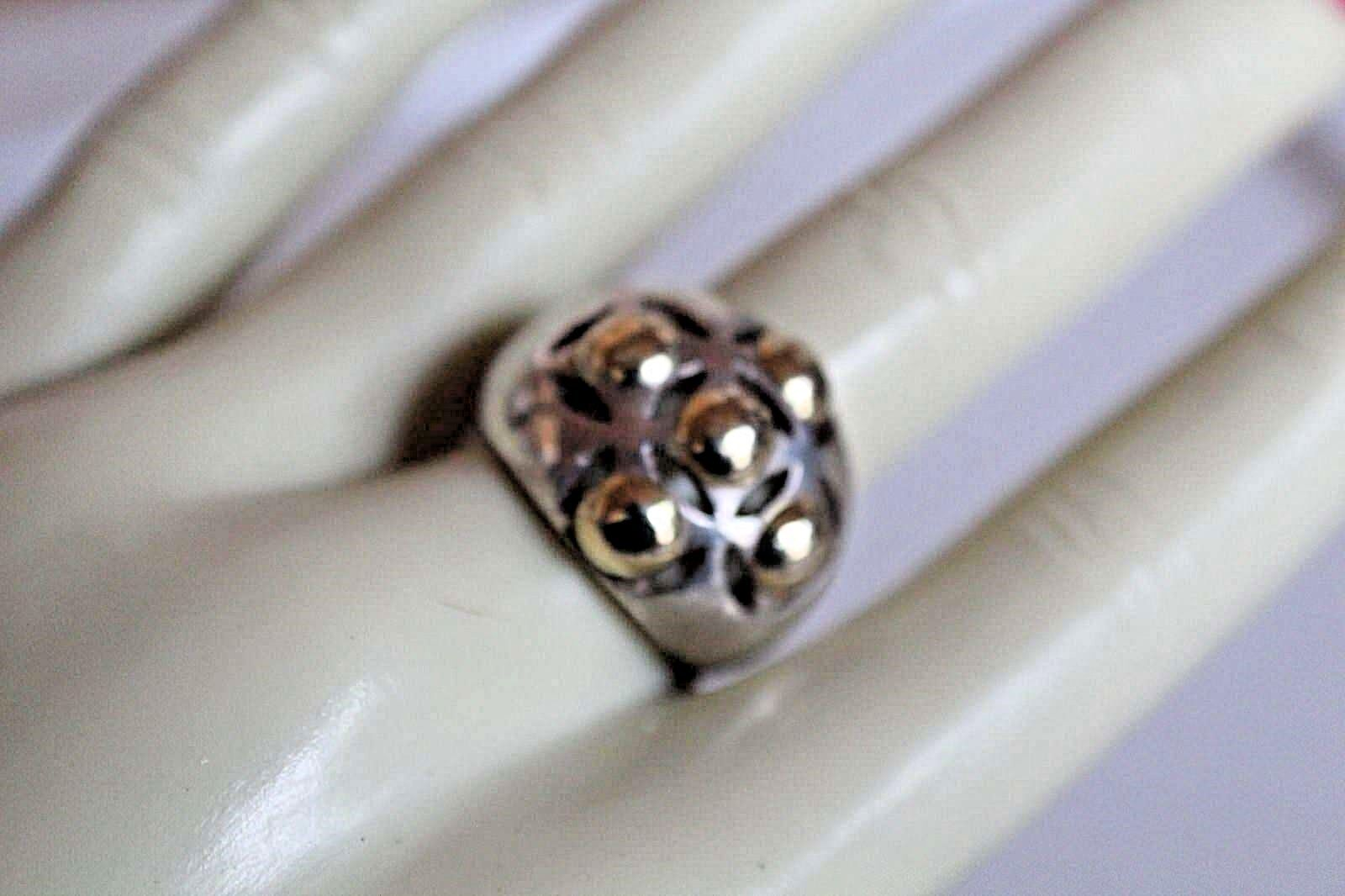 924 & 14K YELLOW gold DOTTED DOME RING SIZE 8.5