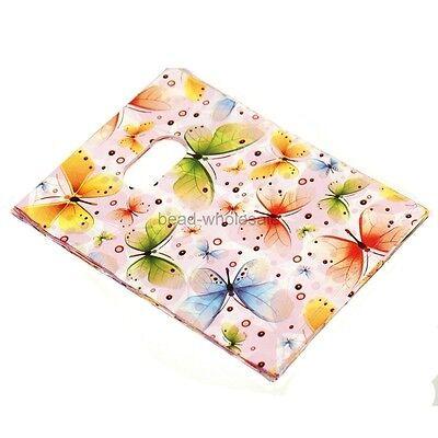 100pcs Pretty Butterfly Plastic Jewelry Gift bag handbag Shopping bags  #2 Style